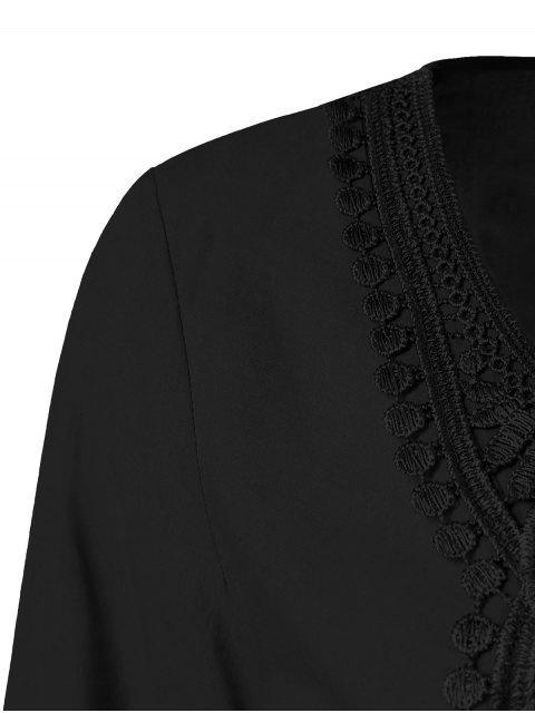 Blouse à manches évasées avec décoration dentelle - Noir 2XL Mobile