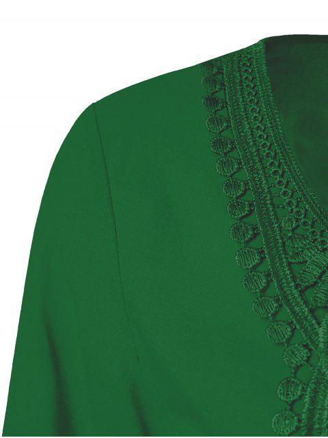 trendy Lace Trim Tunic Blouse - EMERALD 2XL Mobile