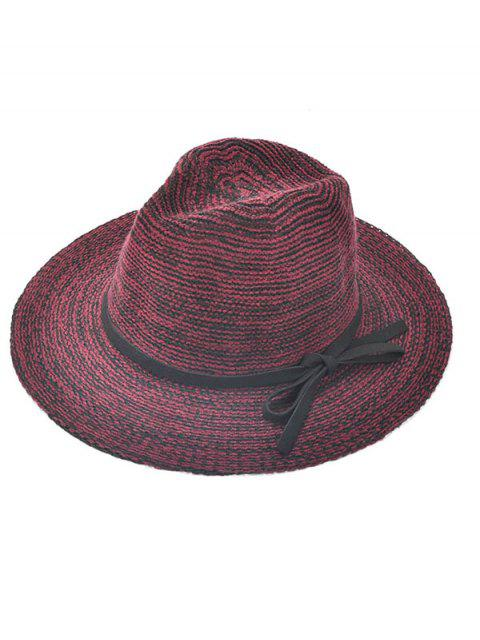sale Bowknot Lace-Up Jazz Hat - WINE RED  Mobile