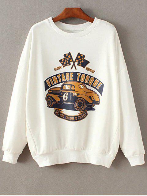 Tropfen Schulter Hülse Sweatshirt - Weiß M Mobile