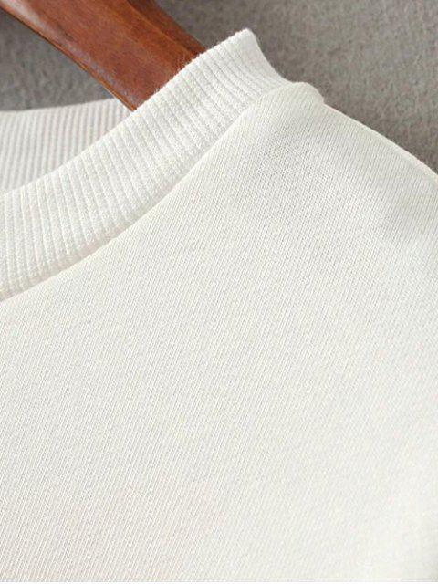 shops Drop Shoulder Sleeve Sweatshirt - WHITE S Mobile