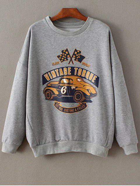 Sweatshirt imprimé à manches découpe goutte d'eau - gris M Mobile