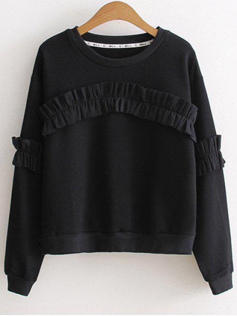 hot Round Collar Ruffles Sweatshirt - BLACK ONE SIZE Mobile