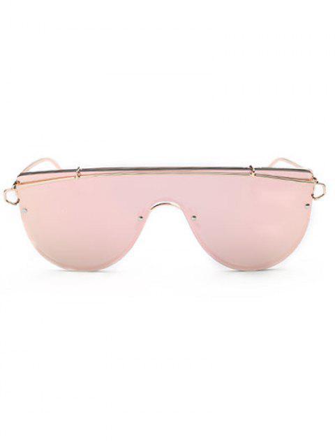 best Cross-Bar Mirrored Sheild Sunglasses - PINK  Mobile
