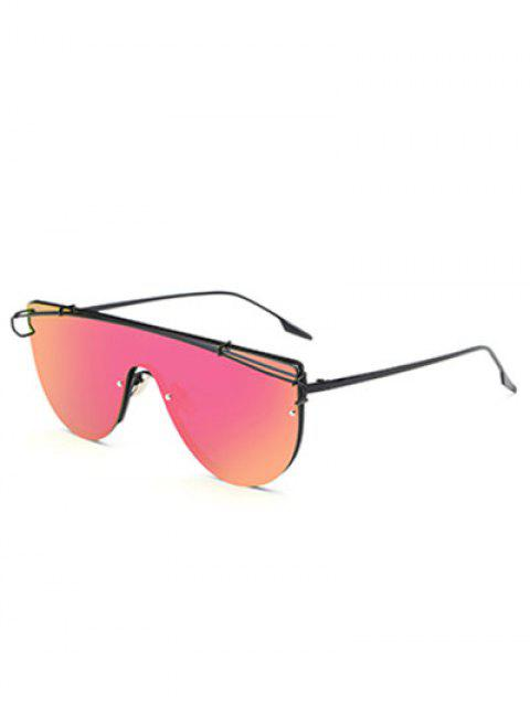 online Cross-Bar Mirrored Sheild Sunglasses - ROSE RED  Mobile
