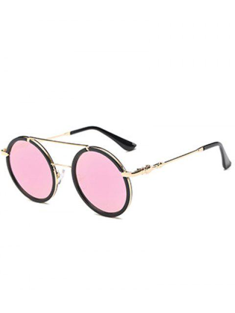 trendy Cross-Bar Mirrored Round Sunglasses - PINK  Mobile