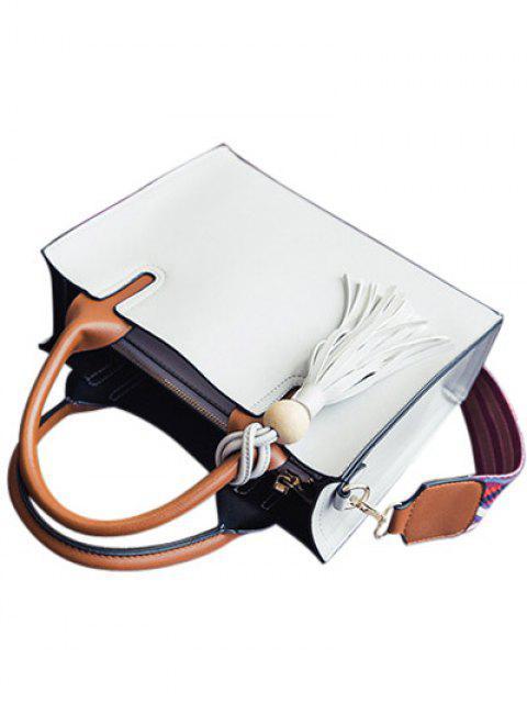 affordable Tassels Color Block Bead Tote Bag - LIGHT GRAY  Mobile