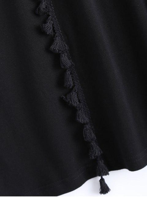 fancy Tassels Half Sleeve T-Shirt Dress - BLACK L Mobile
