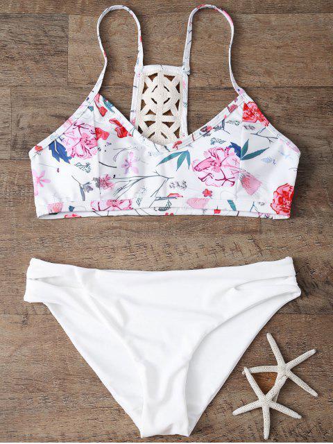 shops Low Rise Floral Bikini Set - WHITE L Mobile