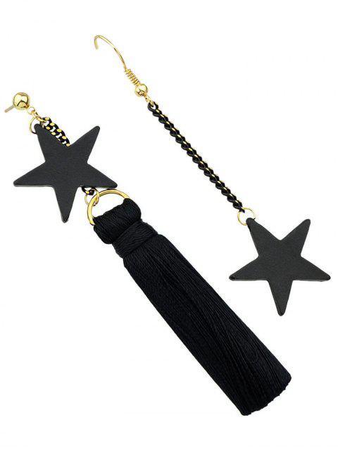 best Asymmetric Tassel Chain Pentagram Earrings -   Mobile