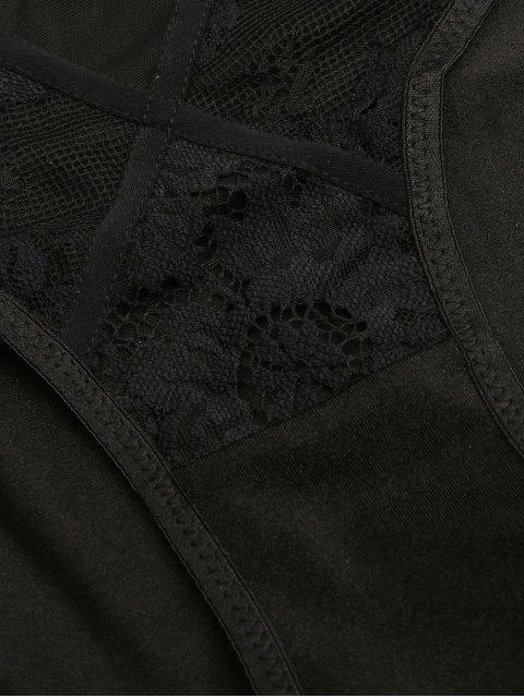 shops See-Through Lace Hook Spliced Bra Set - BLACK L Mobile