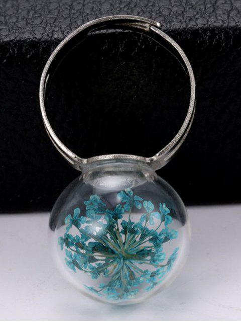 chic Glass Dry Floral Ball Ring -   Mobile