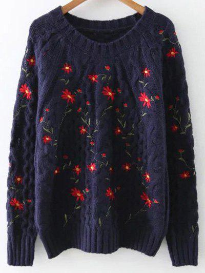 Image of Cable Knit Floral Embroidered Sweater