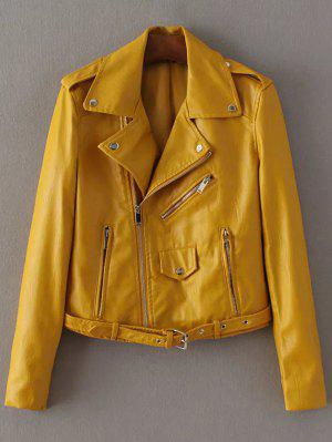 Lapel Collar Zippers Faux Leather Jacket - Yellow Xs
