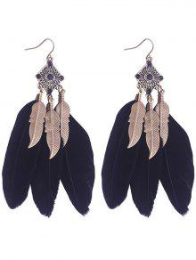 Geometric Alloy Leaf Feather Drop Earrings - Black