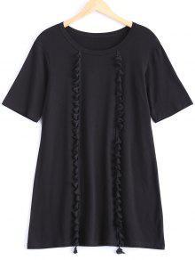 Tassels Half Sleeve T-Shirt Dress - Black L