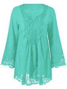 Lace Trim Tunic Blouse - Mint Green 3xl
