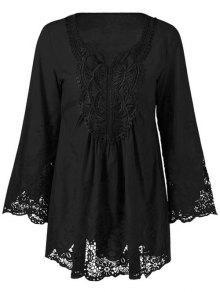 Lace Trim Tunic Blouse - Black 3xl