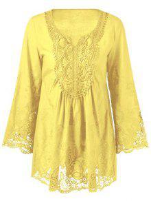 Lace Trim Tunic Blouse - Yellow Xl
