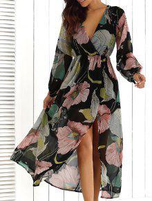 فستان ماكسي طباعة الأزهار الرقبة V - الأزهار Xl