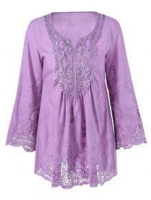 Lace Trim Tunic Blouse - Light Purple 4xl