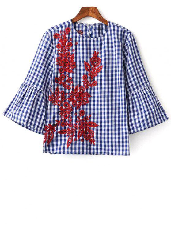 outfits Flare Sleeve Checked Embroidered Blouse - PLAID M