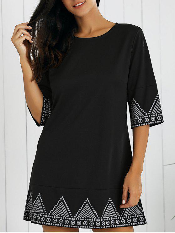 الفستان القصير بالطبع مع الياقة الدائرية - أسود L