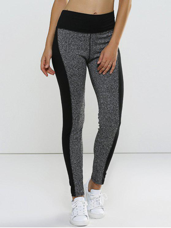 Leggings taille haute super tendu a double couleur - Gris XL