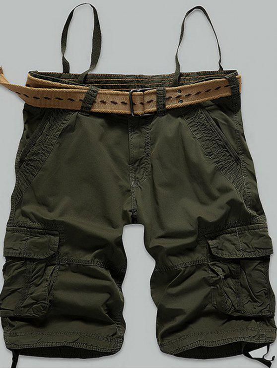 new Stitch Multi-Pocket Zipper Fly Cargo Shorts - ARMY GREEN 38