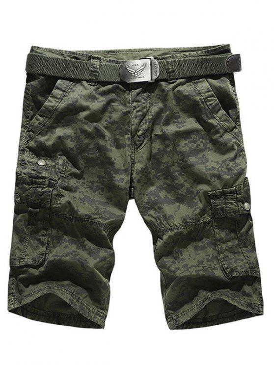 Camo Multi-Pocket Zipper Fly Cargo Shorts - Vert Armée  36