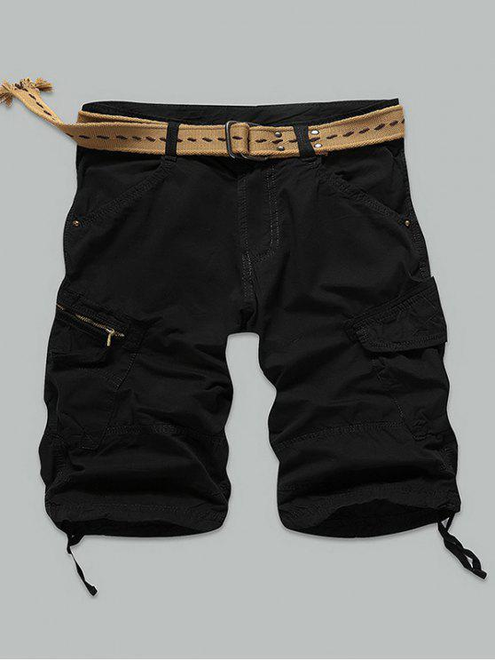 Bolsillo con cremallera del remache Pantalones cortos de carga hasta la rodilla - Negro 34