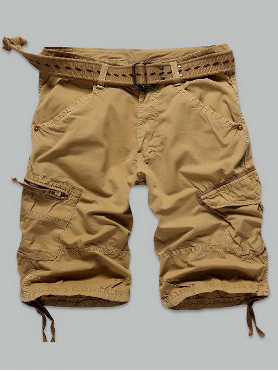 hot Pocket Rivet Zippered Knee Length Cargo Shorts - EARTHY 32