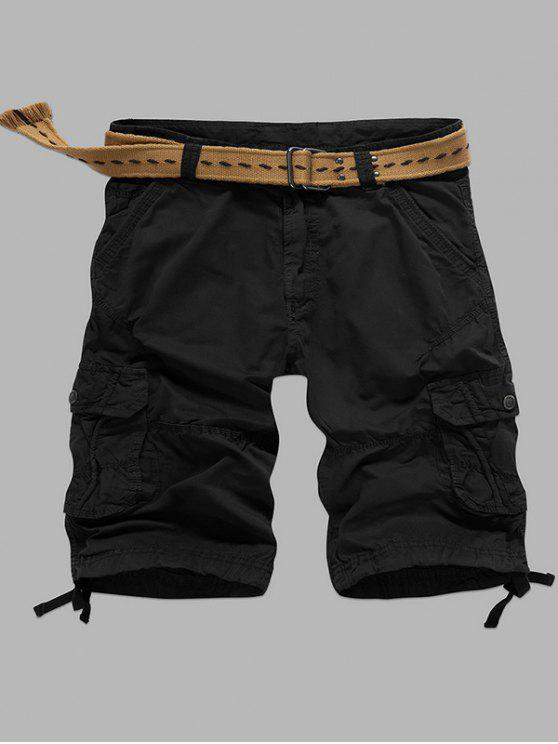 Multi-Pocket Zipper Fly Shorts cargo droite - Noir 38