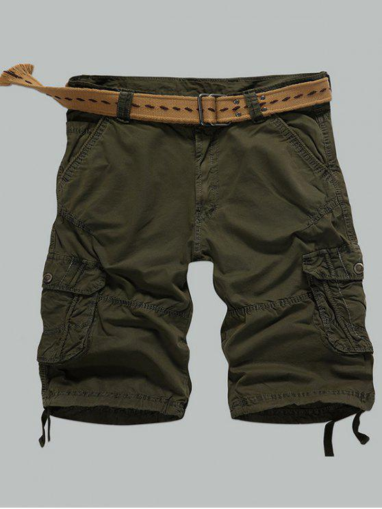 affordable Multi-Pocket Zipper Fly Straight Cargo Shorts - ARMY GREEN 36