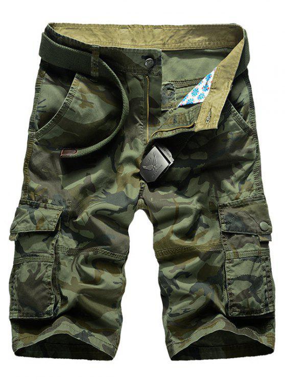 Droites Shorts Leg Cargo Camo Multi-Pocket - Vert Armée 40