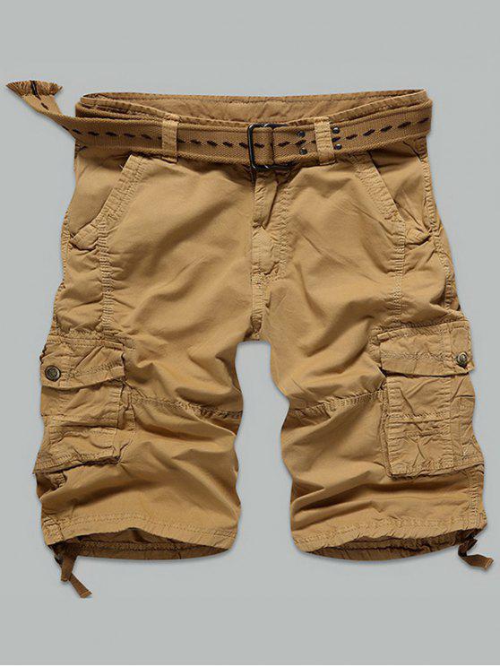 Pulsante Multi Stitch scatto Tasche Shorts con Cerniera Cargo - Terroso 38