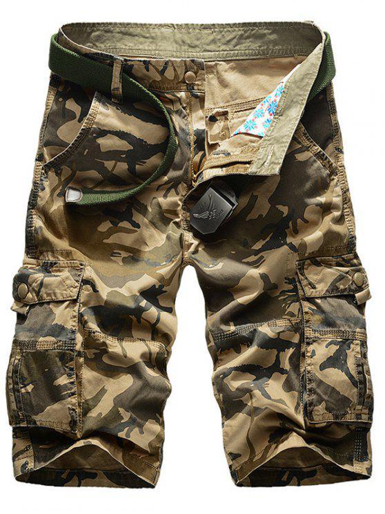 Camo multibolsillos Pantalones cortos de la pierna recta de carga - Caqui 40