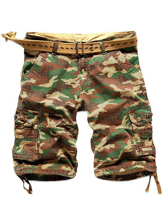 new Camo Multi Stitch Snap Button Pockets Zipper Fly Cargo Shorts - EARTHY 29