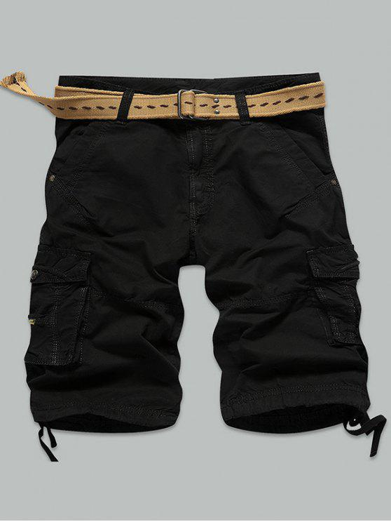 outfits Straight Muti-Pocket Zipper Fly Cargo Shorts - BLACK 32
