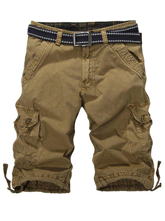 sale Loose-Fitting Zipper Fly Drawstring Hem Cargo Shorts - DARK KHAKI 32