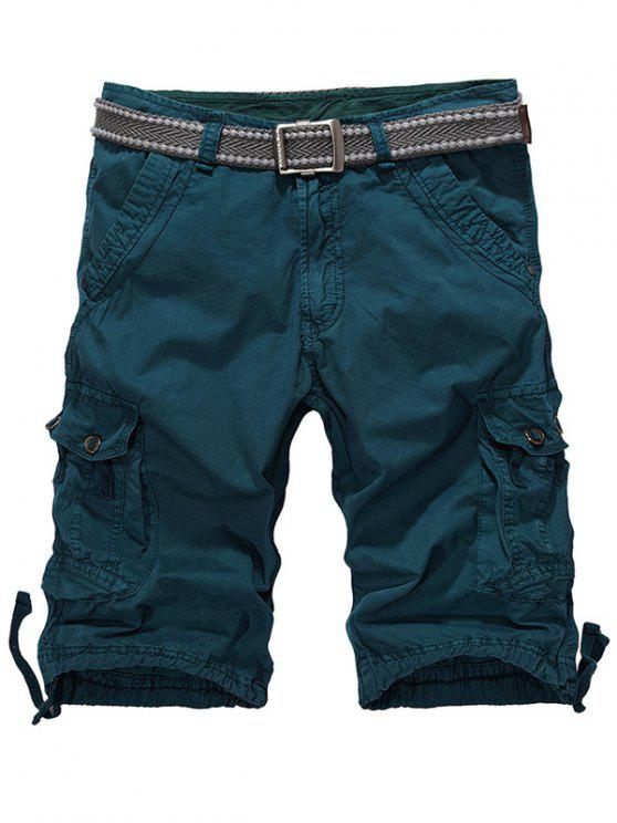 Loose-Fitting Shorts Zipper Fly Drawstring Hem Cargo - vert foncé 32