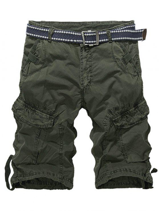 outfit Knee Length Multi-Pocket Zipper Fly Cargo Shorts - ARMY GREEN 32