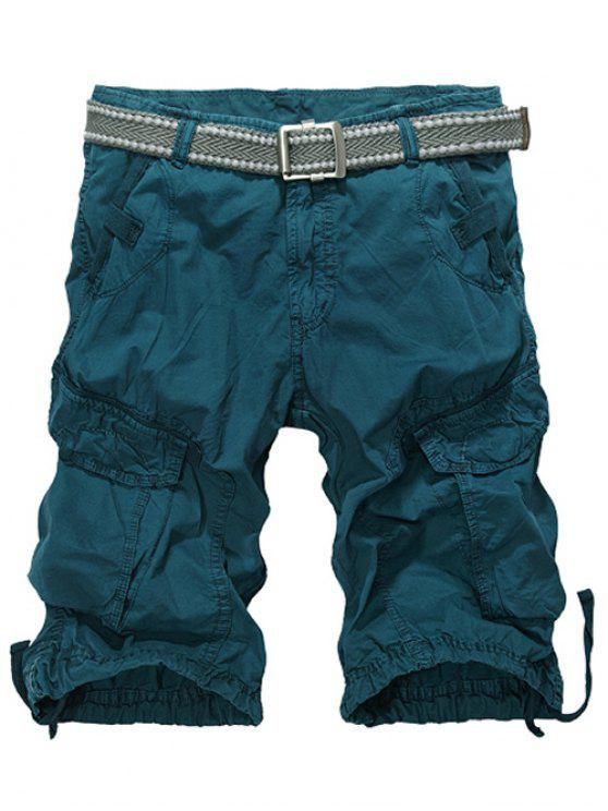 shops Knee Length Multi-Pocket Zipper Fly Cargo Shorts - BLACKISH GREEN 34