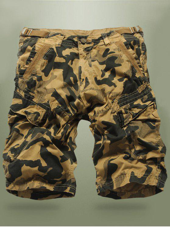 Buckled Multi-Pocket Camo Cargo Shorts - Kaki 34