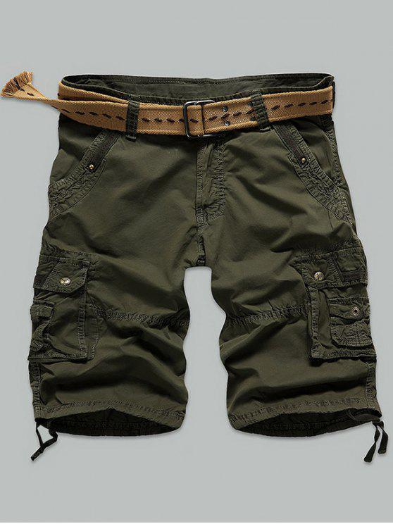 outfit Rivet Embellished Muti Stitch Zipper Fly Cargo Shorts - ARMY GREEN 29
