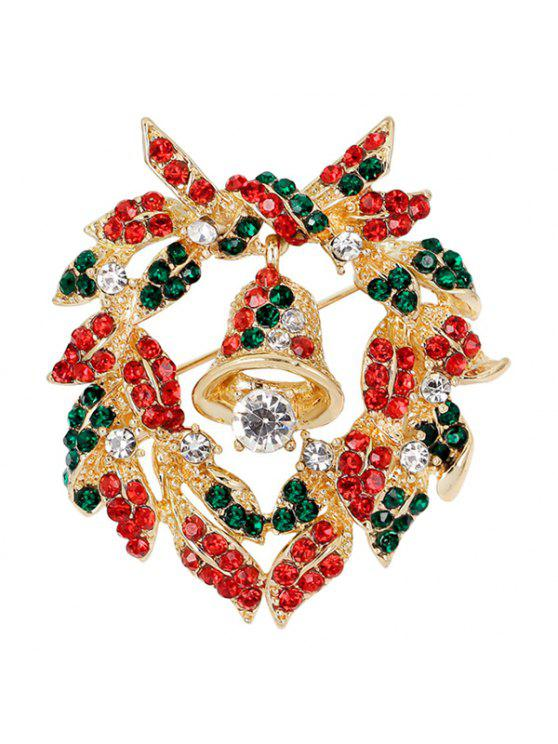 Broche en Forme de Couronne de Noël avec Cloche - Or
