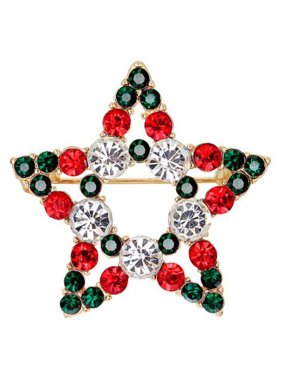 ladies Rhinestone Star Brooch - BLACKISH GREEN
