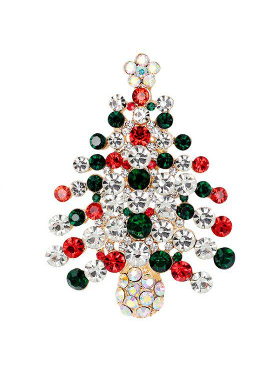 lady Zircon Christmas Tree Brooch - BLACKISH GREEN