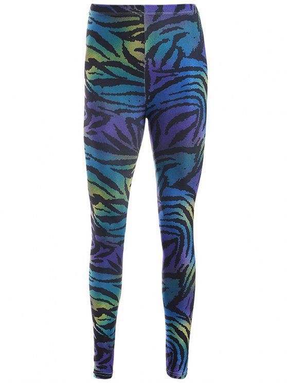 chic Zebra Stripe Print Leggings - PURPLE ONE SIZE