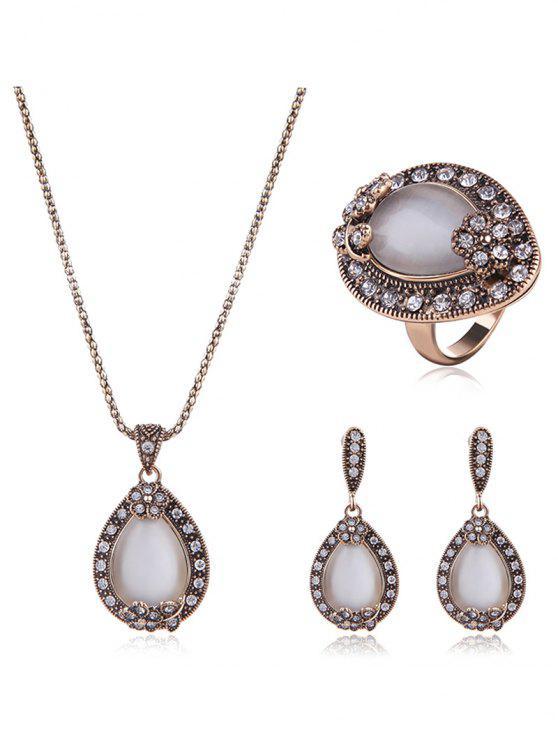 Bijoux Goutte d'Eau Faux Opal Set - Blanc Taille Unique